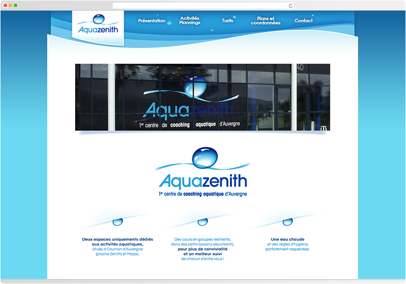 Homepage du site du centre Aquazenith